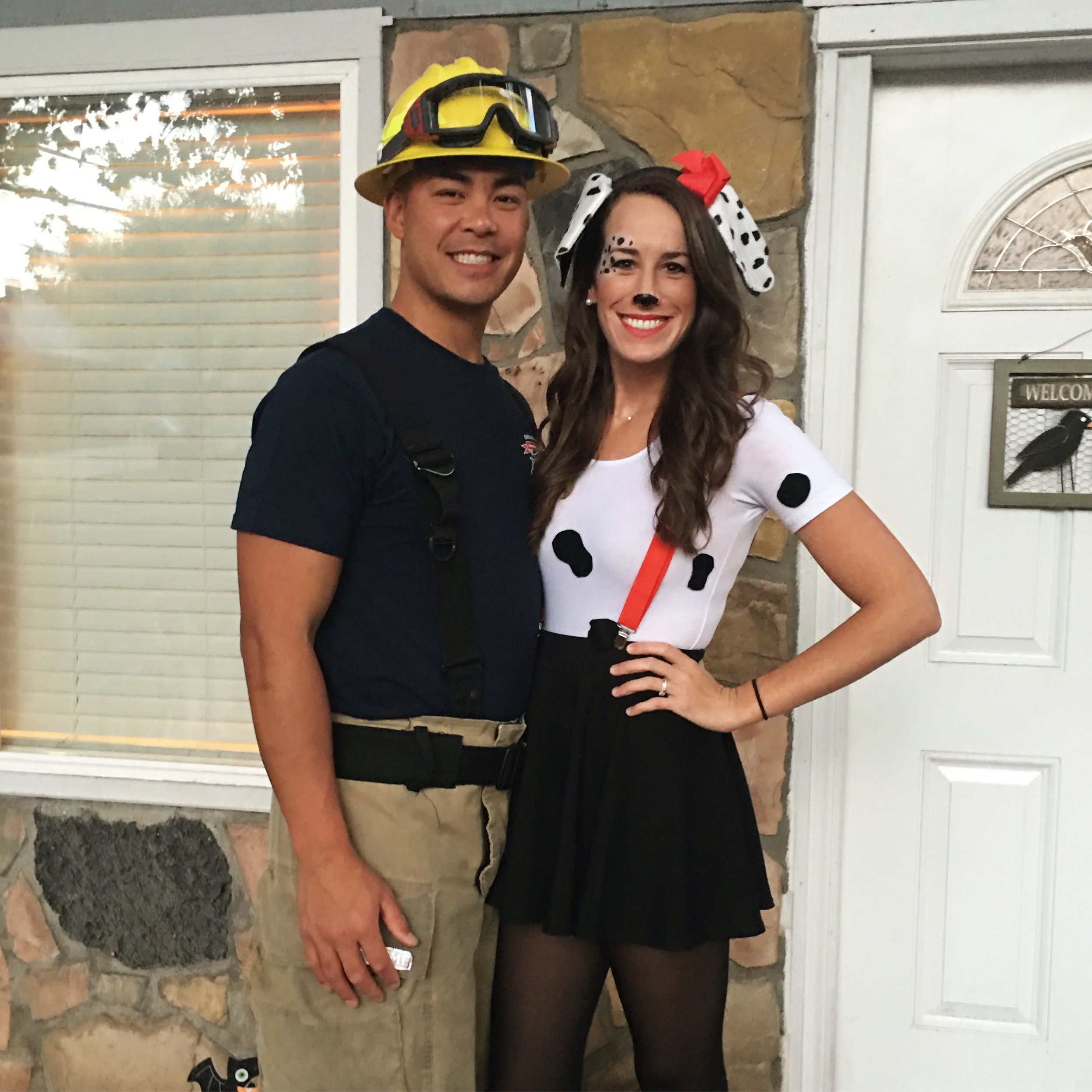 Couples costume firefighter and Dalmatian (all from