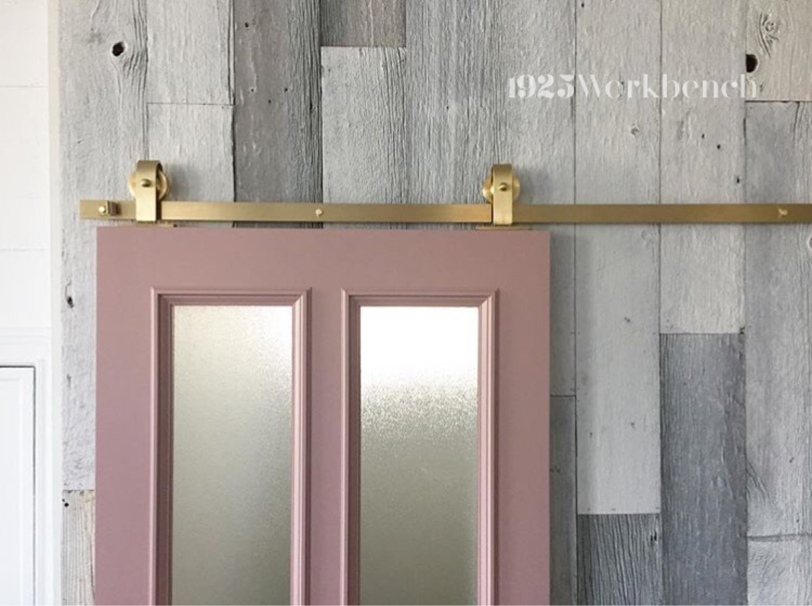 Our Brassy Beau Top Mount Barn Door Hardware Made Of Solid Brass On Our Handmad Pink Door Made In Canada B Barn Door Hardware Barn Door Sliding Glass Door