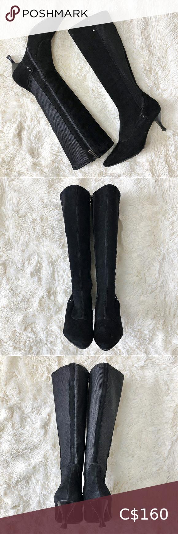 Aquatalia Black Suede & Knit Kitten Heel Boots 9