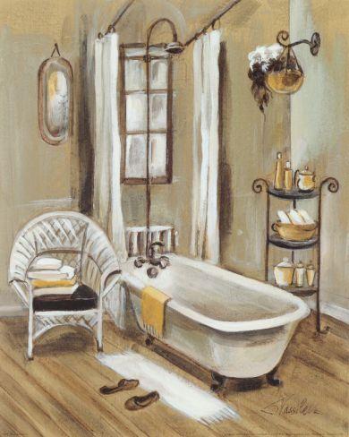 French Bath Ii Art Print By Silvia Vassileva At Art Com Stretched Canvas Wall Art Wall Canvas French Bathroom