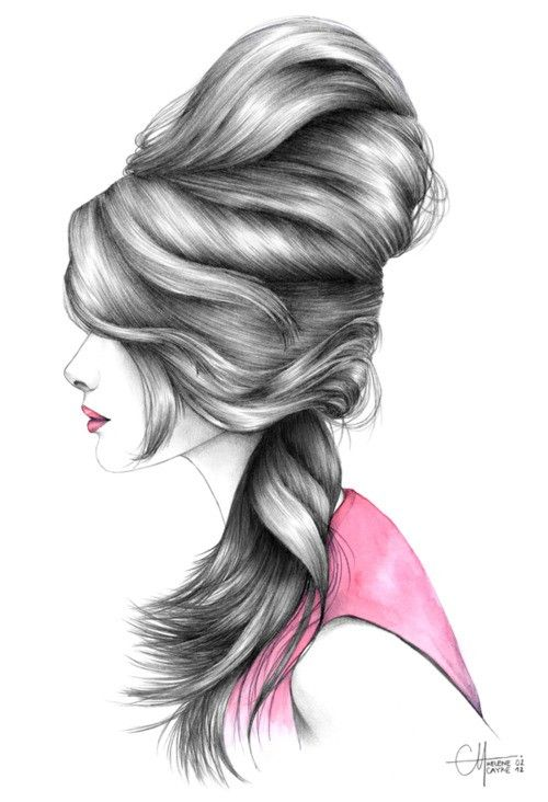 Girl Side Sketch Love Her Hair
