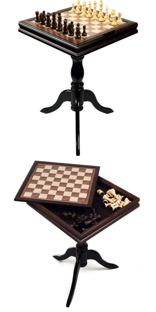 Vintage Chess 19088: Vintage Gaming Table Chess Backgammon Board 2 In 1 End  Table Game