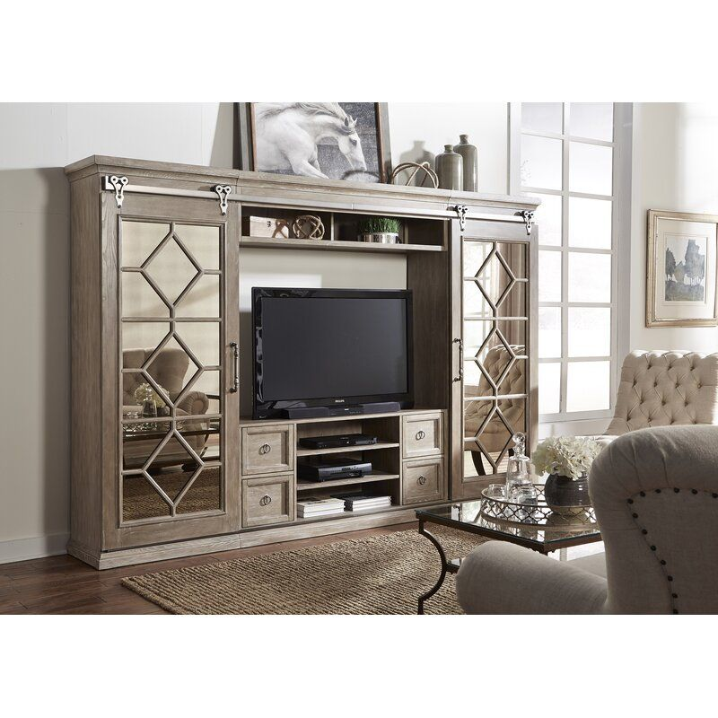 Falzone Solid Wood Entertainment Center For Tvs Up To 65 In 2020 Wood Entertainment Center Entertainment Wall Units Liberty Furniture