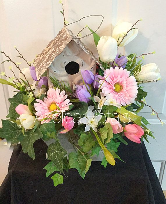 Spring floral arrangement birdhouse centerpiece shabby chic spring floral arrangement birdhouse centerpiece shabby chic flowers table top decoration mightylinksfo Choice Image