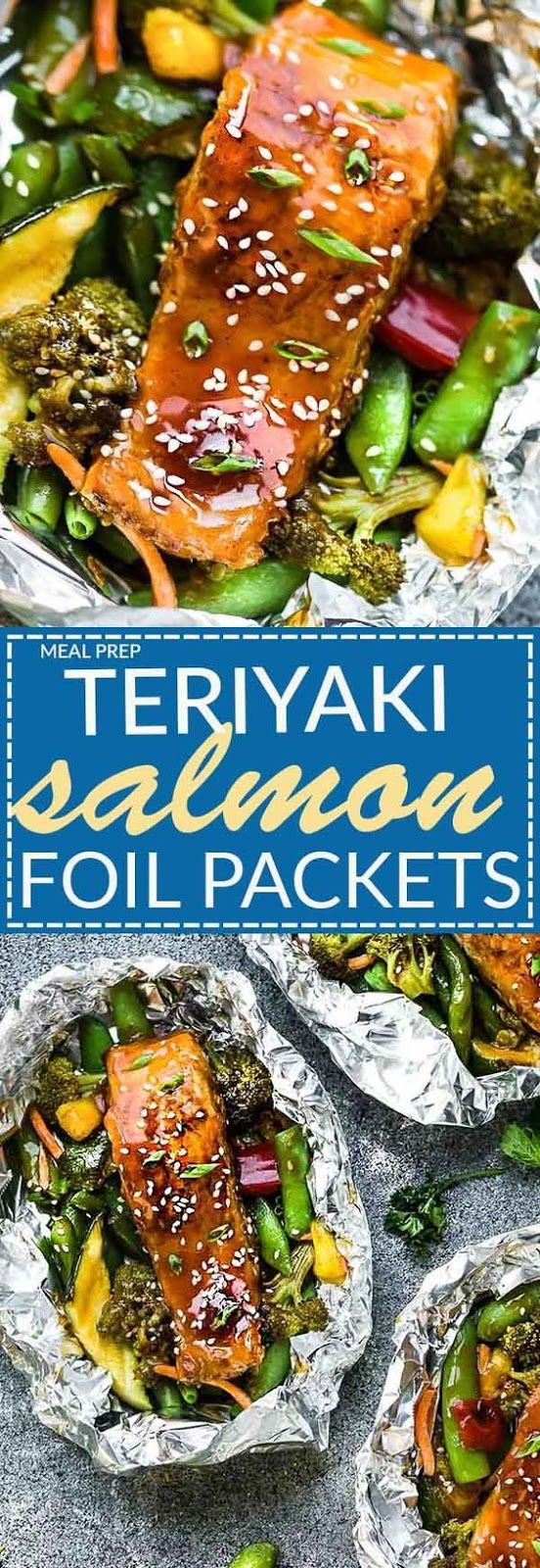 Teriyaki Salmon Foil Packets #teriyakisalmon