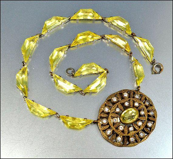 RESERVED Citrine Czech Glass Art Deco Necklace Rhinestone Gold Geometric Vintage 1920s Art Deco Jewelry