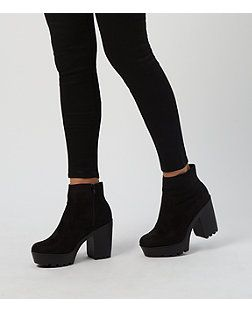 38078a4f9407 Black Suedette Chunky Block Heel Ankle Boots