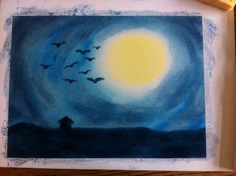 Schildering voor klas 5 // nachtlandschap // voor het verhaal Duivelsschuur // eigen werk