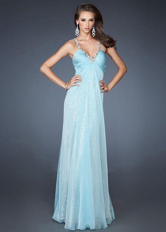 Long Aqua Two Beaded Silver Straps V-Cut Open Back Prom Dress ...