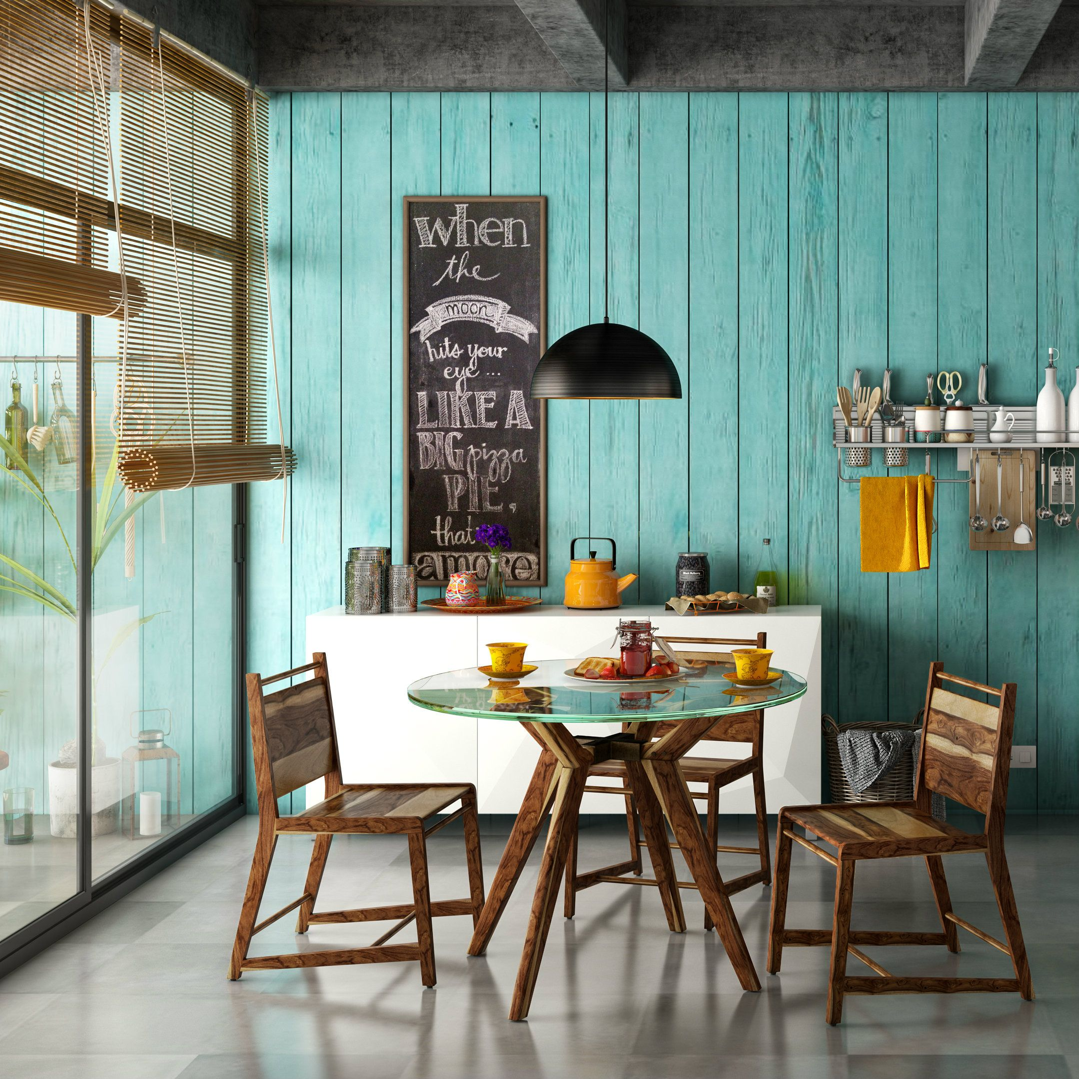 A cafe inspired small dining room for a refreshing break
