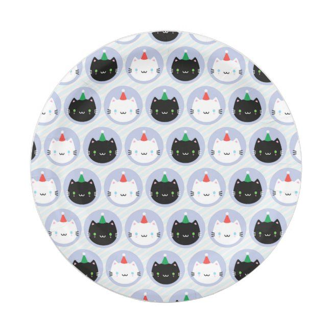 Cute Cats in Party Hats Paper Plate #cats #kittens #party #hats #celebration #PaperPlate