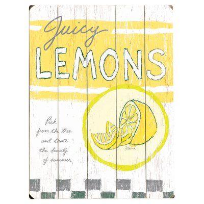 Artehouse Llc Juicy Lemons Graphic Art Multi Piece Image On Wood Vintage Wood Signs Wood Signs Wood Wall Decor