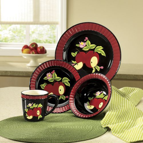 16 Piece Midnight Apple Dinnerware Set From Ginny S Zd706987