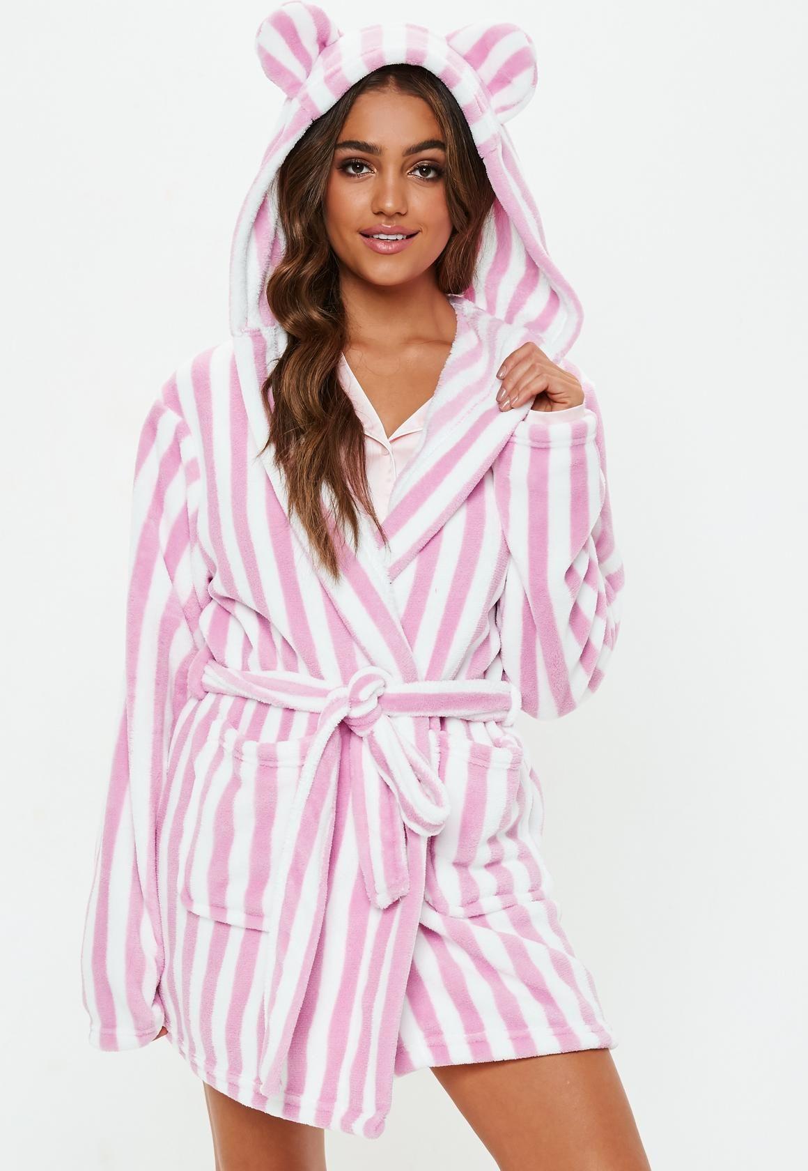 b0c8b8f670 Missguided - Pink Stripe Fluffy Dressing Gown