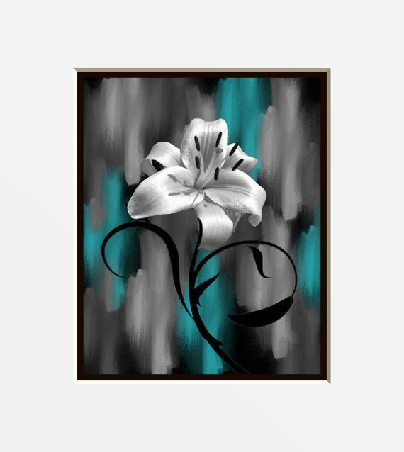 Teal Gray Wall Art Photography Modern Lily Flower Decorative Bedroom Bathroom Floral Decor Matted Picture Teal Wall Art Grey Wall Art Gray Bathroom Decor