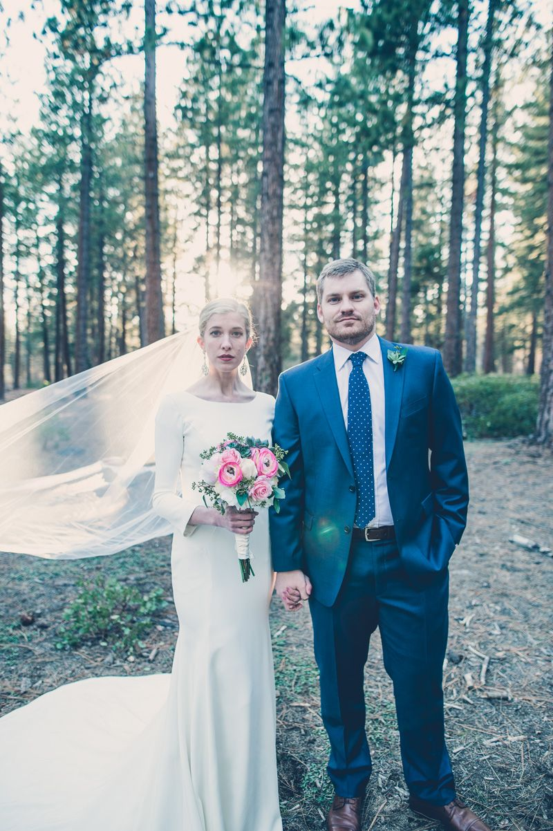 Modest wedding dress with long sleeves and a straight skirt from