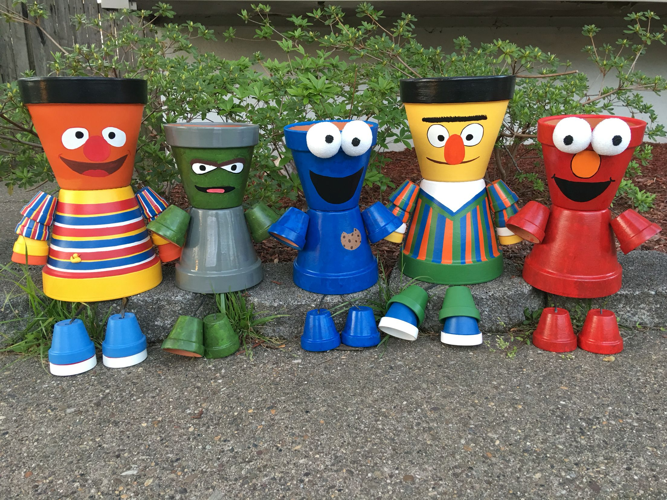 Sesame Street Gang Pot People Potes Clay Flower Pots Clay Pot People Flower Pot People