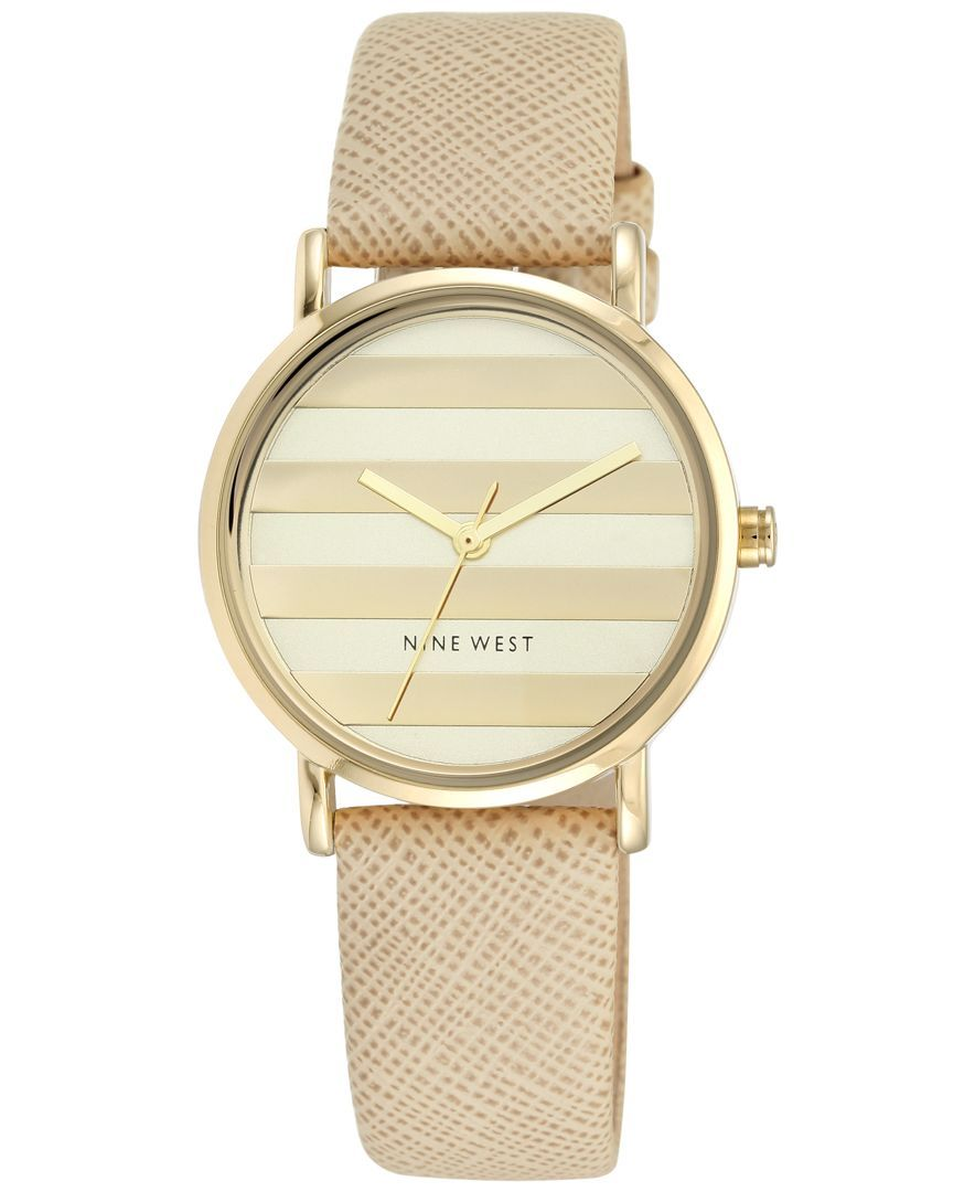 5d072fd878da8 Nine West Women s Natural Leather Strap Watch 33mm Nw-1864CHNT ...