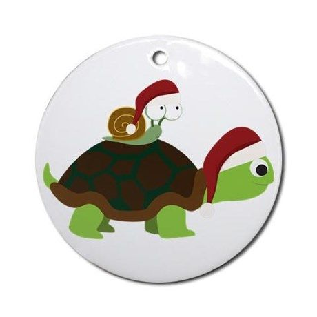 Santa Snail And Turtle Ornament (round) on CafePress.com