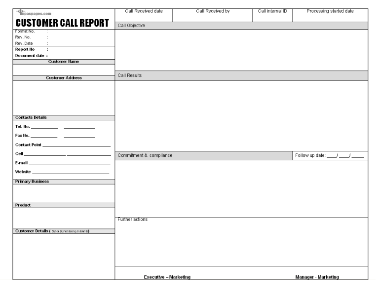 Sales Call Report Template 7 Report Template Templates