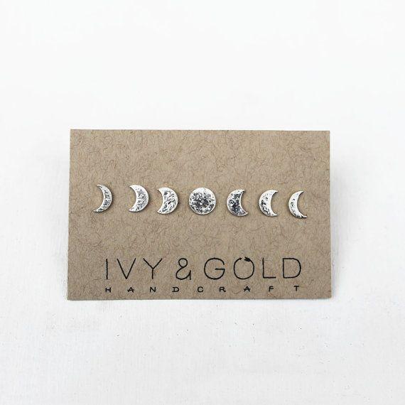 Sterlingsilber-Phasen der Mond Stud Ohrring von IvyandGoldHandcraft