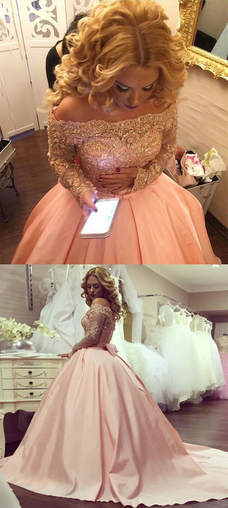 Honorable ball gown pink prom dress off the shoulder long sleeves