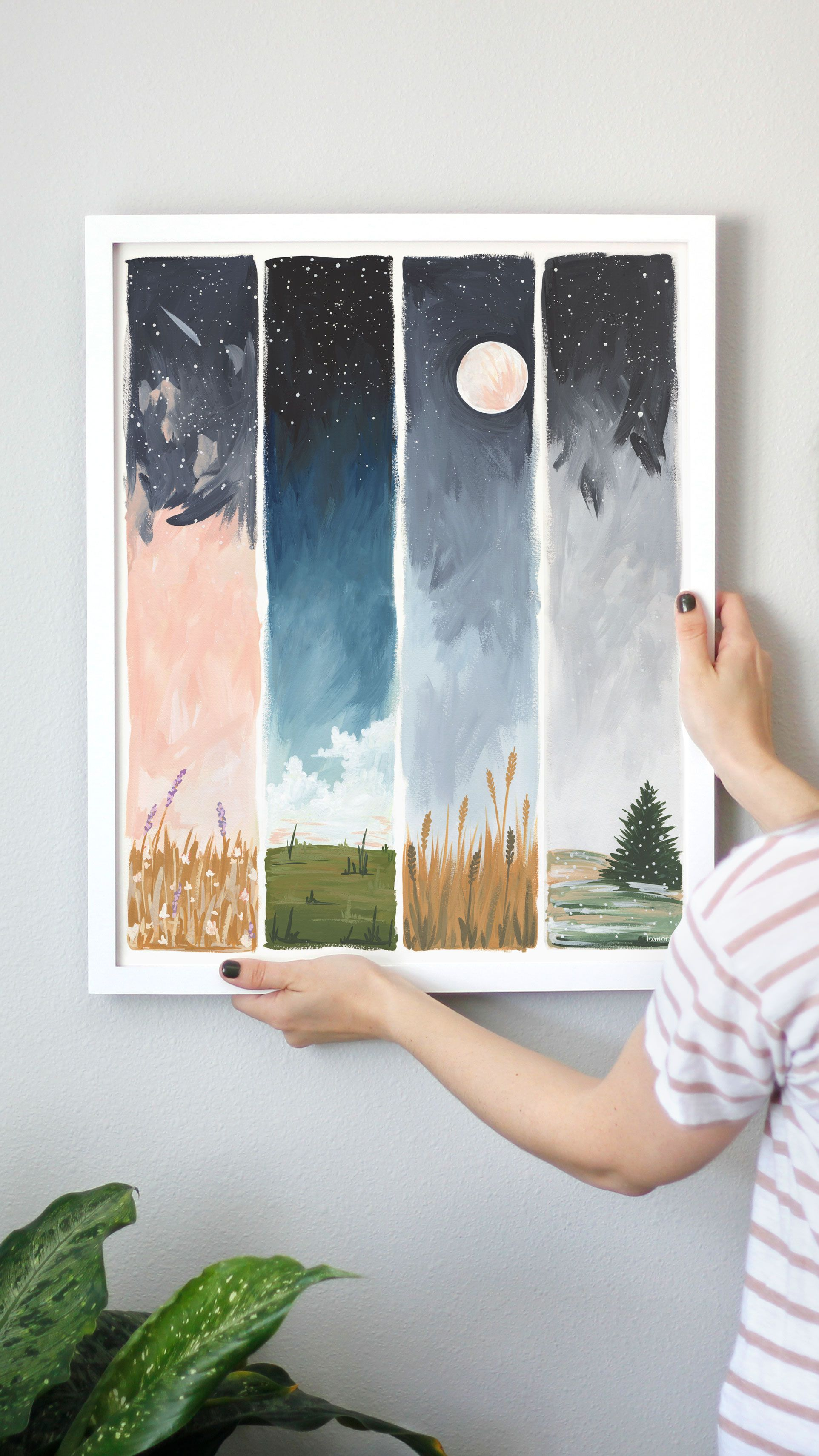 Starry Seasons Art Print Art Drawings Art Prints Watercolor Art