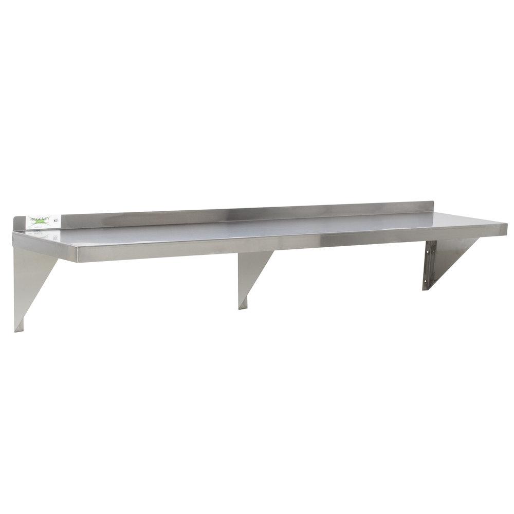 Regency 16 Gauge Stainless Steel 12 X 60 Heavy Duty Solid Wall Shelf Wall Shelves Shelves Steel Wall