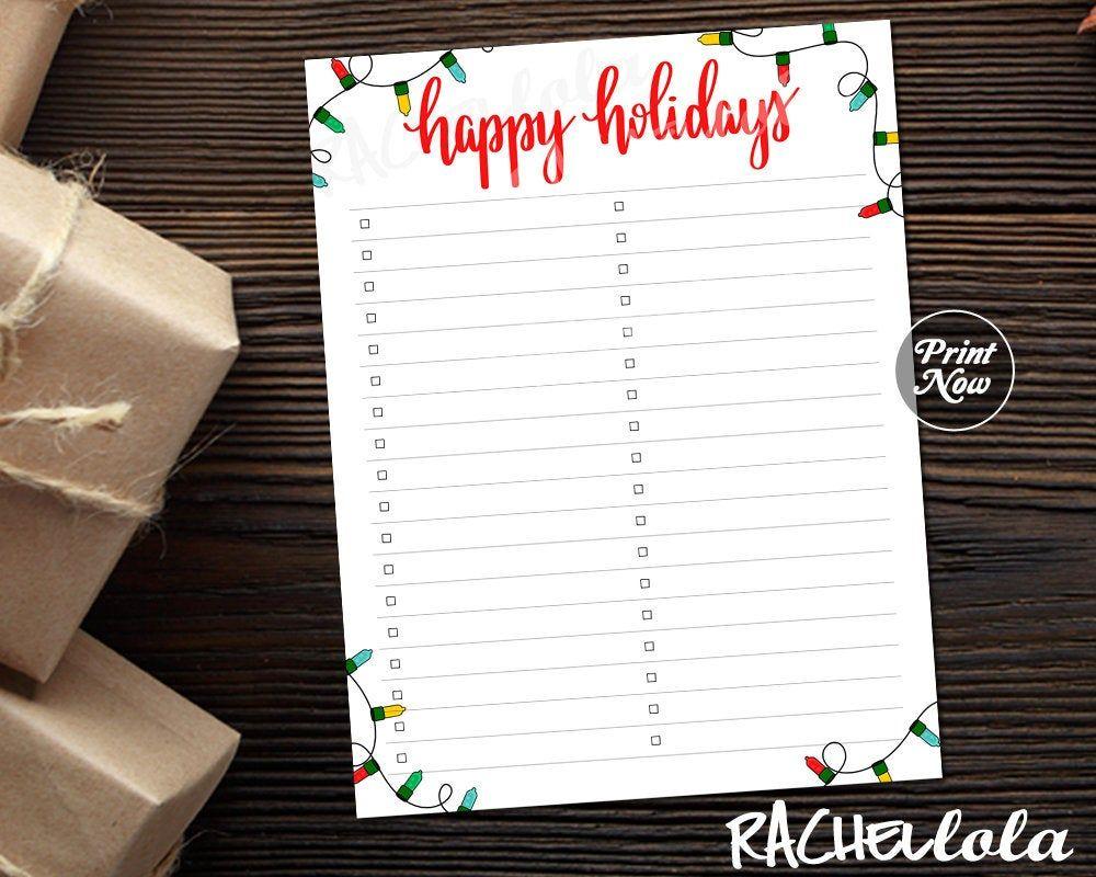 To Do list for Christmas Holidays Printable /& Digital Template