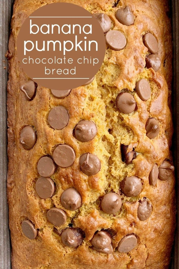 Banana Pumpkin Chocolate Chip Bread | Pumpkin Bread | Banana Bread | Banana Pumpkin Bread is a must-make quick bread recipe! Sweet bananas, pure pumpkin, and chocolate chips combine to make the best, most moist, pumpkin bread ever. It bakes up to perfection and is a yummy fall recipe. #pumpkinrecipes #pumpkinbread #fallbaking #quickbread #bananabread #pumpkin #pumpkinrecipes Banana Pumpkin Chocolate Chip Bread | Pumpkin Bread | Banana Bread | Banana Pumpkin Bread is a must-make quick bread recip #bananabread