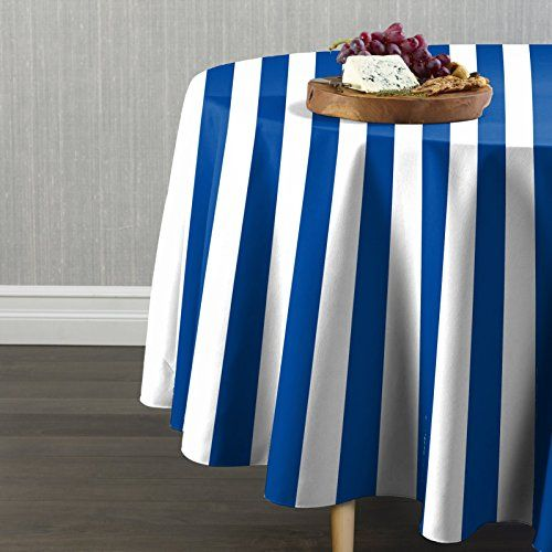 Best Royal White Cabana Stripe Tablecloth 84 Round Best 400 x 300
