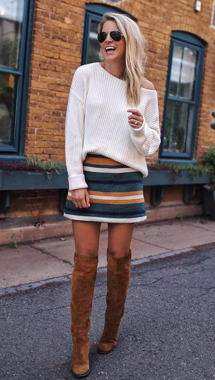0f3578cb3bf amazing fall outfit idea   white sweater + striped skirt + brown over knee  boots