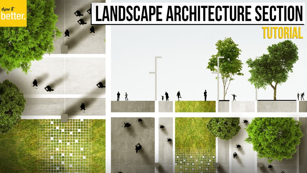 Landscape Architecture Section And Plan In Photoshop Photoshop