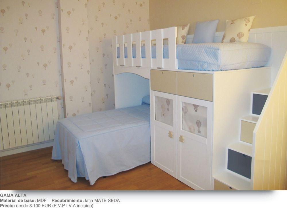 Literas infantiles en l con escalones y armarios for Literas infantiles para ninas