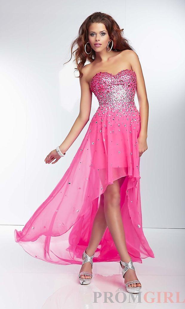Beaded Strapless Chiffon High Low Dress | Social Dresses | Pinterest ...