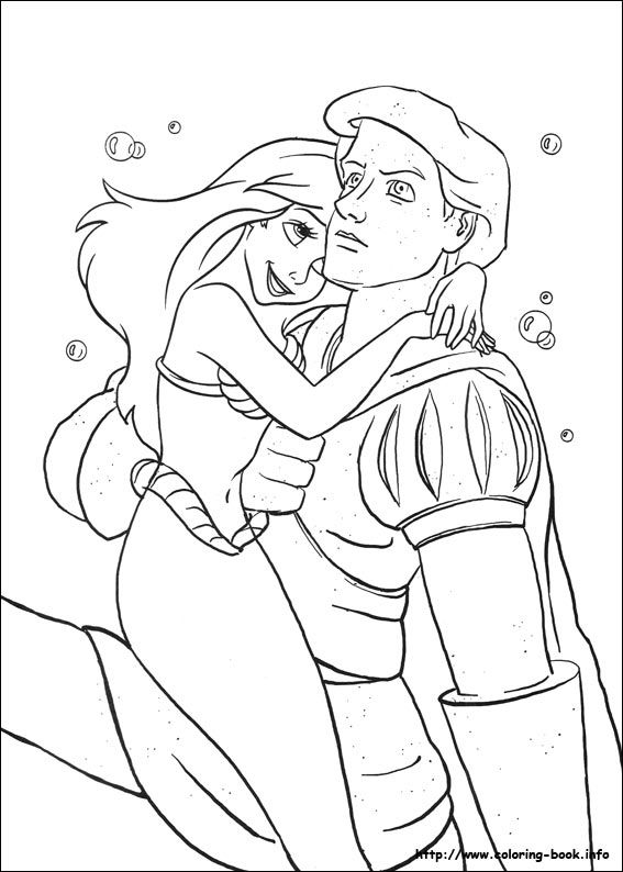 ariel prince eric the little mermaid coloring page
