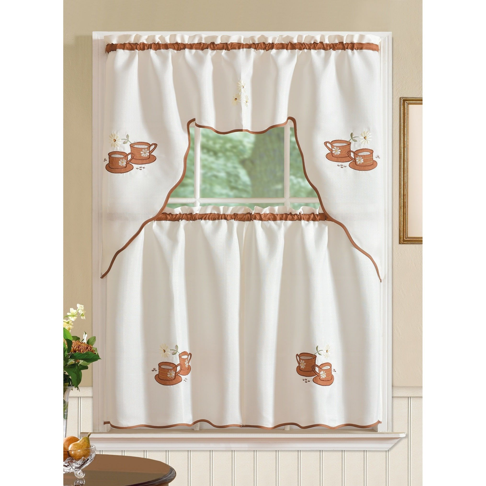 Rt Designer S Collection Imperial Coffee Jacquard Tier And Valance Kitchen Curtain Set Coffee White Brown Multicolor Rt Desig Kitchen Curtain Sets Custom Drapes Kitchen Curtains