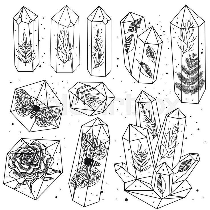 Stock Vektor Von Satz Von Hand Gezeichneten Linie Kunst Kristalle Und Blatter Motten Stieg In Edelsteinen Isolierte Zeichnen Zeichnungen Pflanzenzeichnung