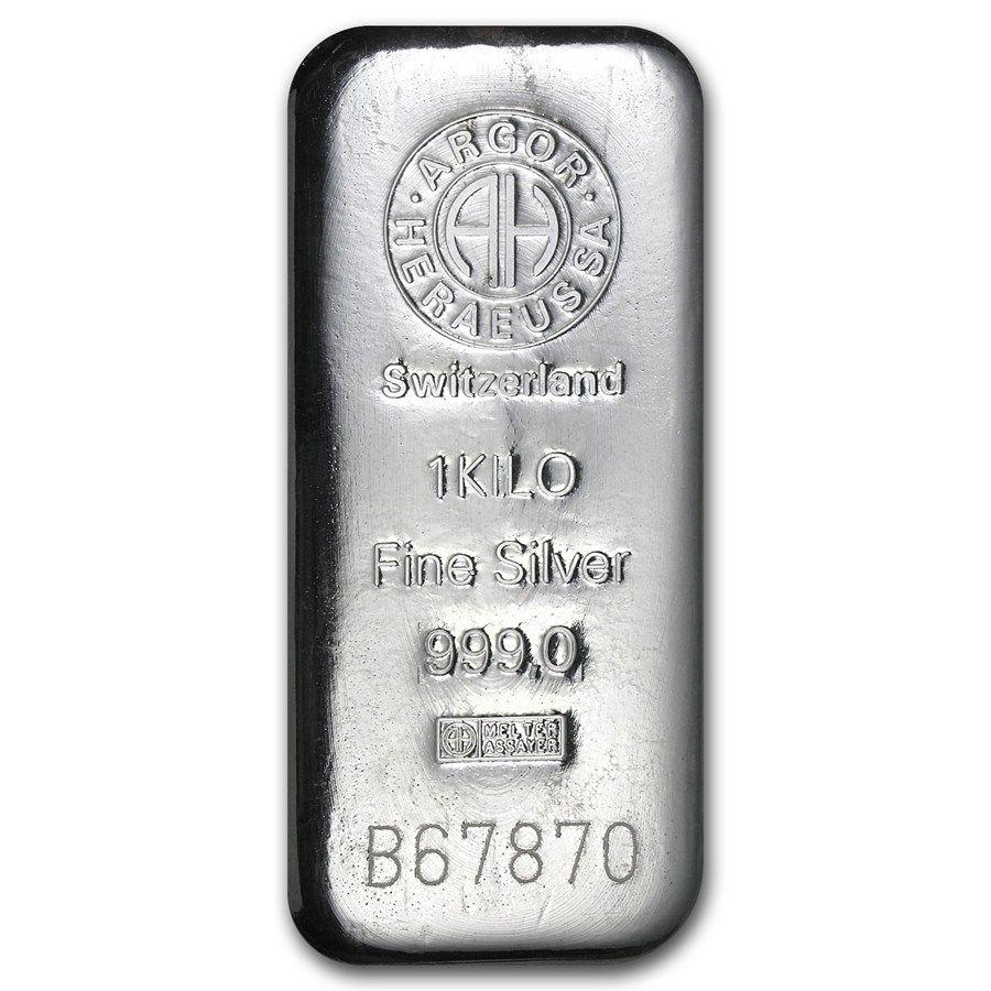 1 Kilo Silver Bar Argor Heraeus Switzerland Kilo 32 15 Oz Silver Bars Apmex Silver Bars Silver Bullion Silver