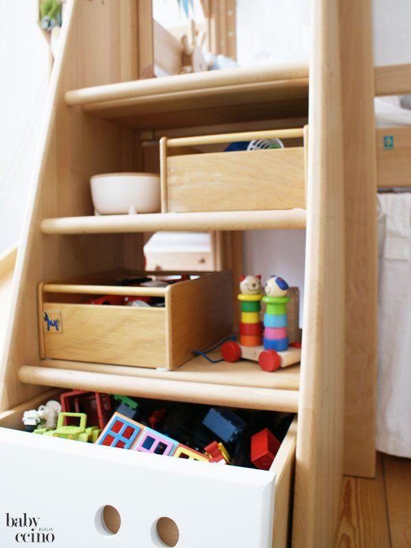 spielzeug einfach verstauen hochbett von de breuyn massivholz treppe mit leitersprossen. Black Bedroom Furniture Sets. Home Design Ideas