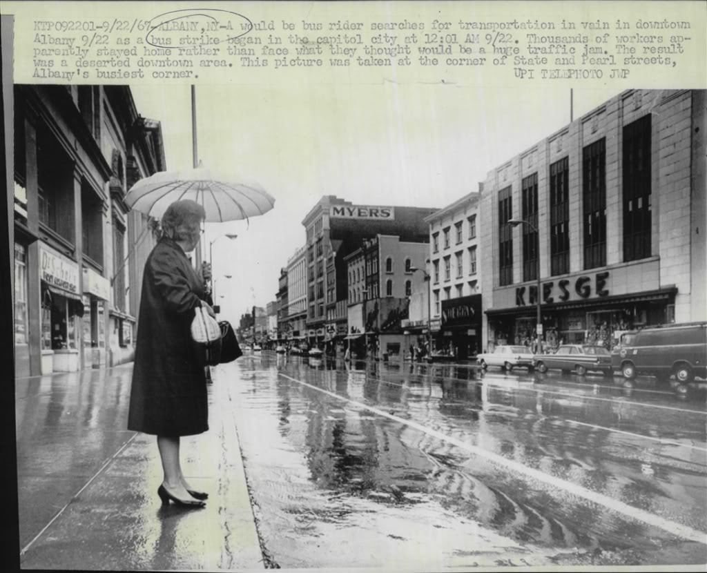 1967 Lady looking for ride during bus drivers strike Albany