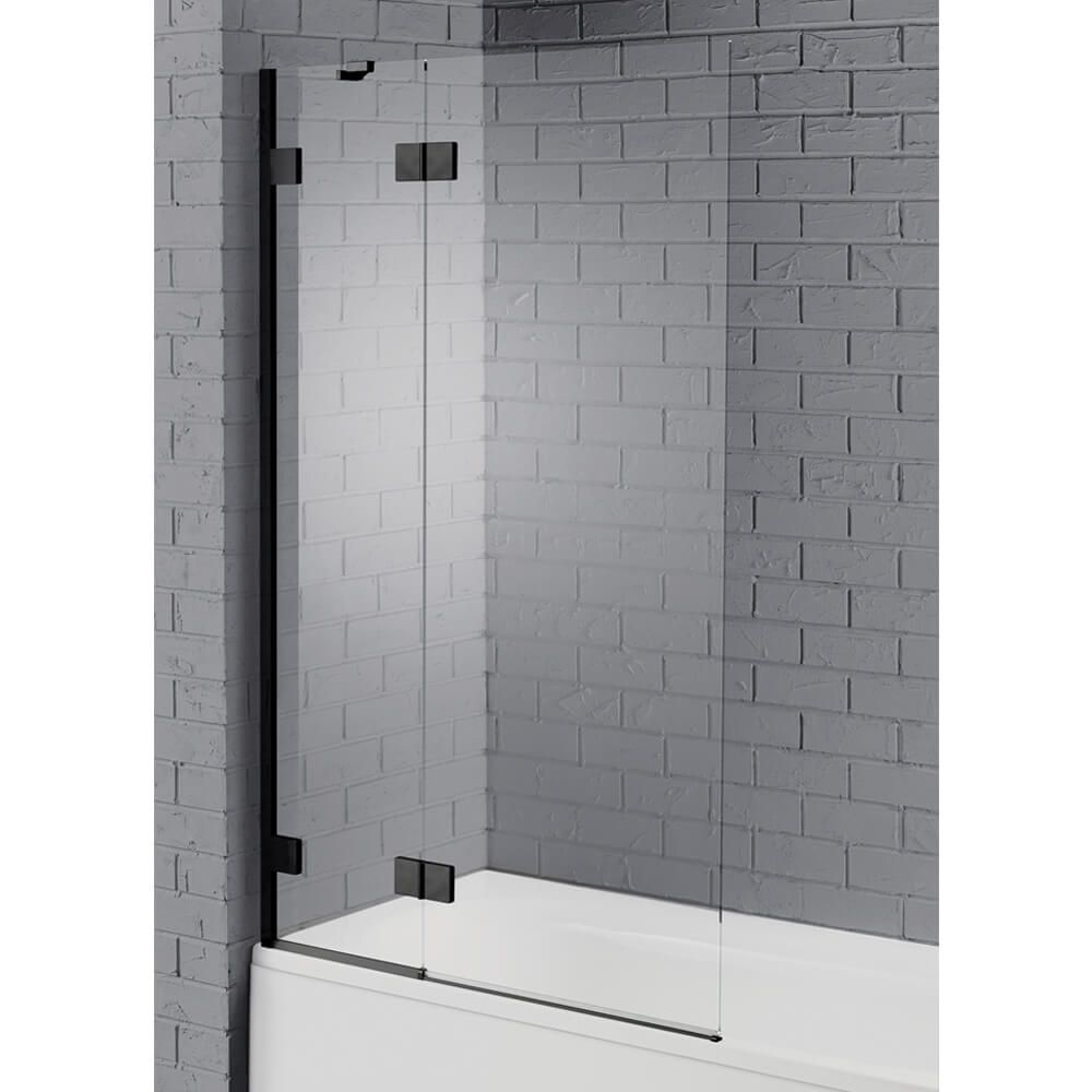 Aquadart Venturi 8 Matt Black Hinged Bath Screen Stunning 8mm Double Panel Bath Screen With A Stylish Ma Bath Screens Bathroom Interior Design Black Bathroom