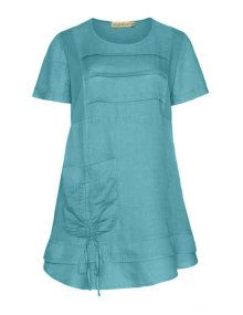 4d4c629431b Isolde Roth Flared linen tunic in Smoky-Blue | My style | Linen ...