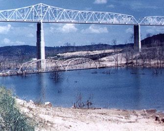 The old Kimberling City bridge on Table Rock Lake The original is