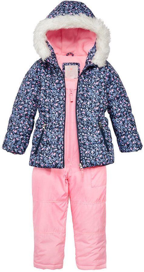 2d2575de4 Carter s 2-Pc. Hooded Jacket with Faux-Fur Trim   Pants Snowsuit ...