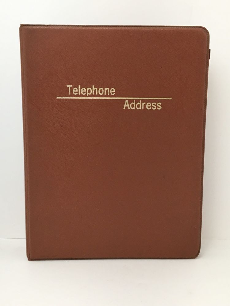 vintage boorum pease brown telephone address book 3 ring binder