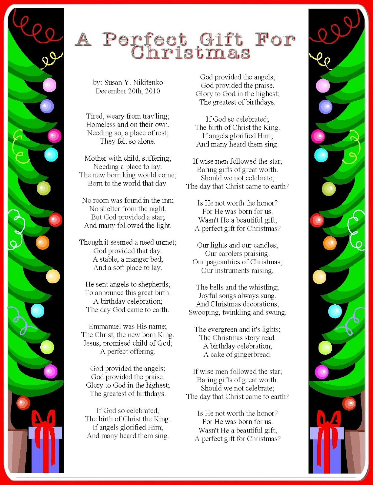 Christmas poems for church programs - My Treasure Box Christmas Poem Posters Updated January 2013