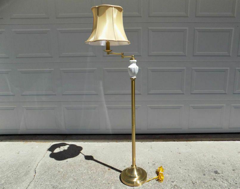 Lenox Lighting By Quoizel Porcelain Brass Floor Lamp Original Shade Swing Arm Brass Floor Lamp Lamp Floor Lamp