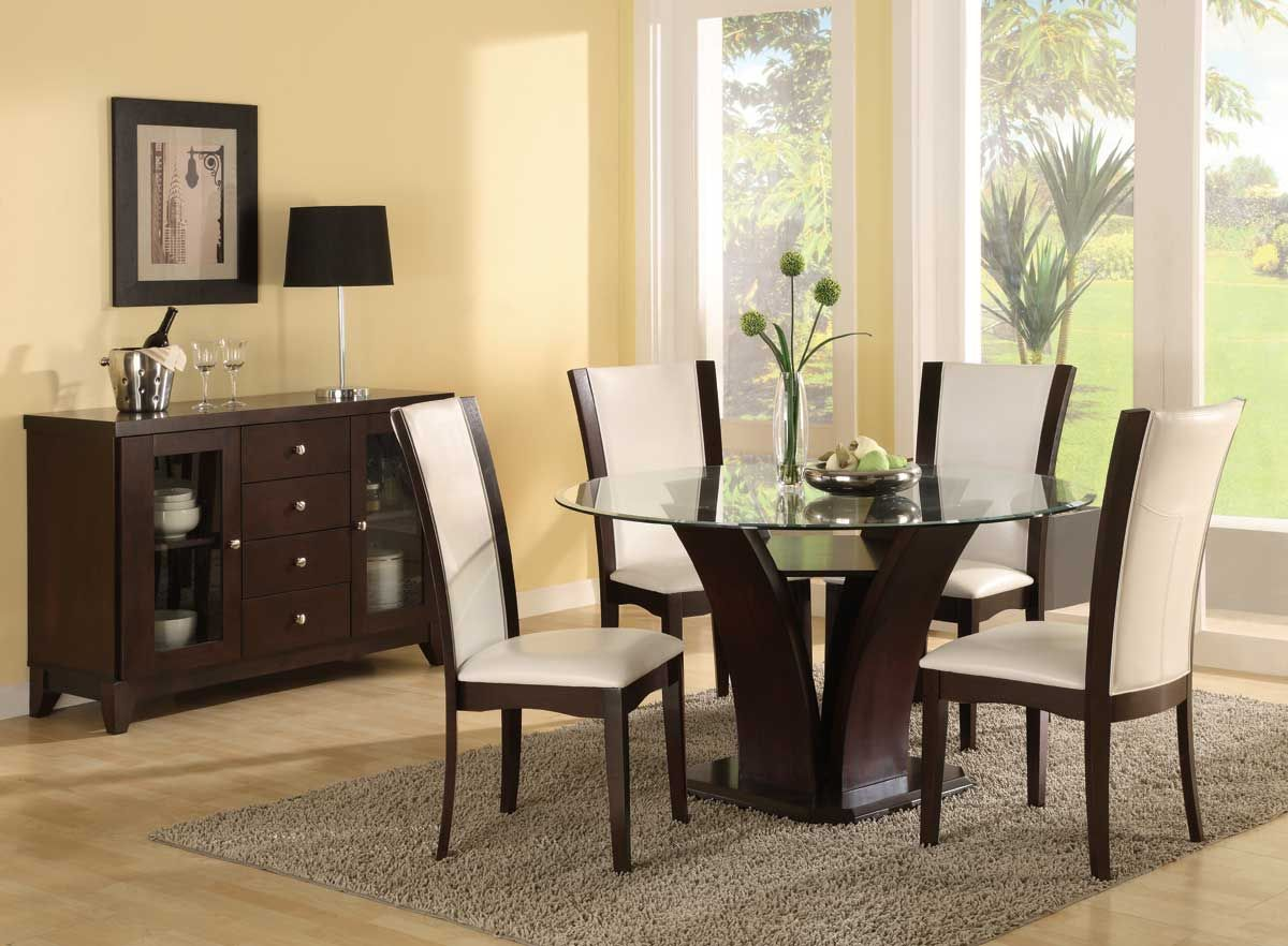 Espresso Dining Chairs House Design Modern Table Set Round Glass Top With White Big Window Popular Room Sets