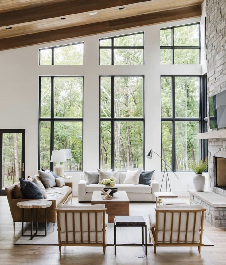 9 Awesome Living Room Design Ideas: Large Windows. Natural Light. In 2019